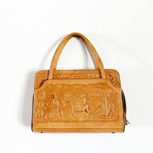 Vintage Mont-Abur Leather Hand Tooled Leather Bag